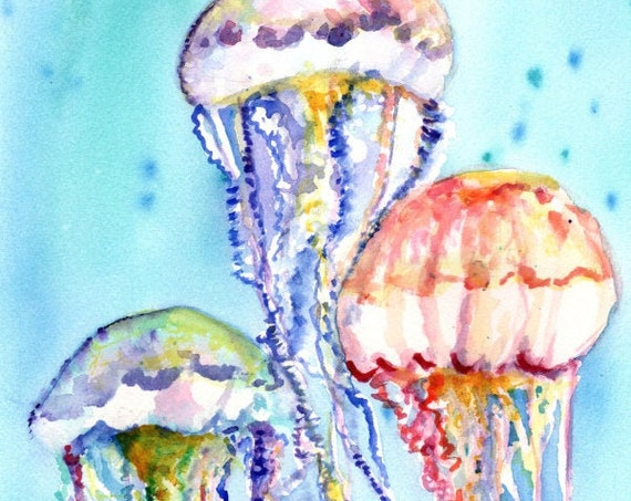 Jellyfish Art , Jellyfish watercolor, Hawaii art, jelly fish painting, ocean art, Hawaii painting, nursery art, under the sea, Hawaii decor