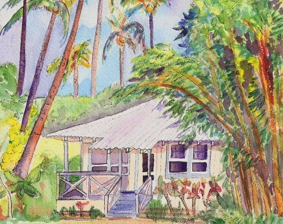 Kauai art prints, Kauai Plantation Cottages, Wamiea Houses, Hawaiian art, Kauai art, Kauai vacation art, kauaiartist, Hawaii wall art