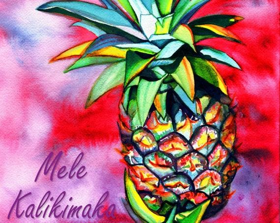 Pineapple Mele Kalikimaka Card, Hawaii Christmas, Instant Download, Downloadable Printable DIY Card 5x7