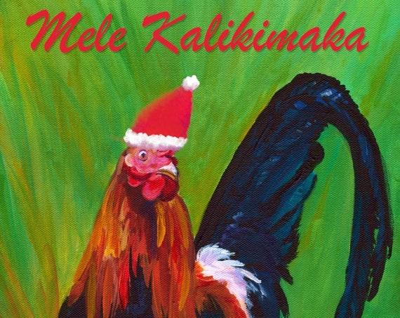 Mele Kalikimaka, Hawaiian Christmas Card, Hawaii Christmas, Kauai Rooster, Tropical Christmas, DIY Christmas Cards, PDF, Downloadable