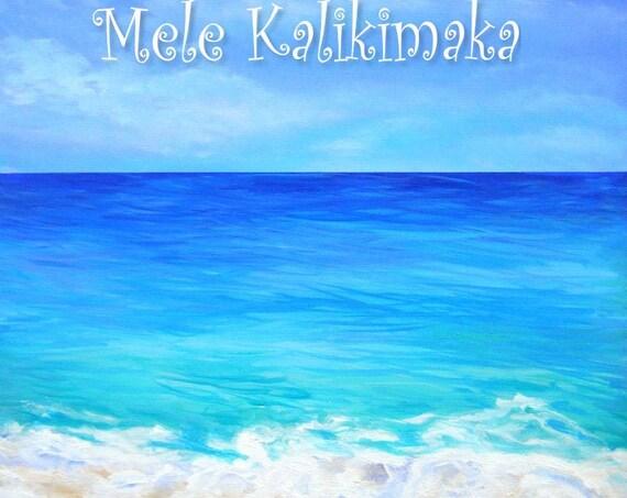 Hawaii Christmas, Mele Kalikimaka, Hawaiian Christmas Card, Ocean Beach, Tropical Christmas, DIY Christmas Cards, PDF, Downloadable