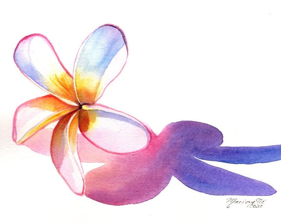 Plumeria, Frangipani, Plumeria Art, Hawaii Watercolor, Hawaii Painting Original, Tropical Flower, Hawaii Flower, Aloha