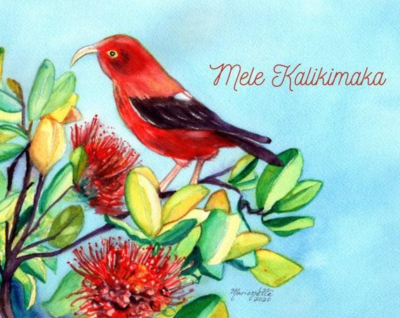 Hawaiian Christmas Card Printable, Mele Kalikimaka Christmas Card Download, Hawaii Christmas, Iiwi Bird, Red Ohia Lehua, DIY Card, 5x7 card
