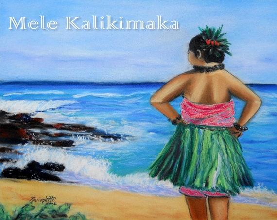 Hawaiian Christmas Card Printable, Mele Kalikimaka Download, Hawaii Christmas, Hula Girl by the Beach, Hawaii, Kauai, PDF DIY Card