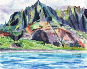 Kauai Na Pali Coast - Kauai Landscape print - Hawaiian Landscape Painting - Kauai Mountain Art - Hawaiian Art -  Hawaii Prints - Kauai Art