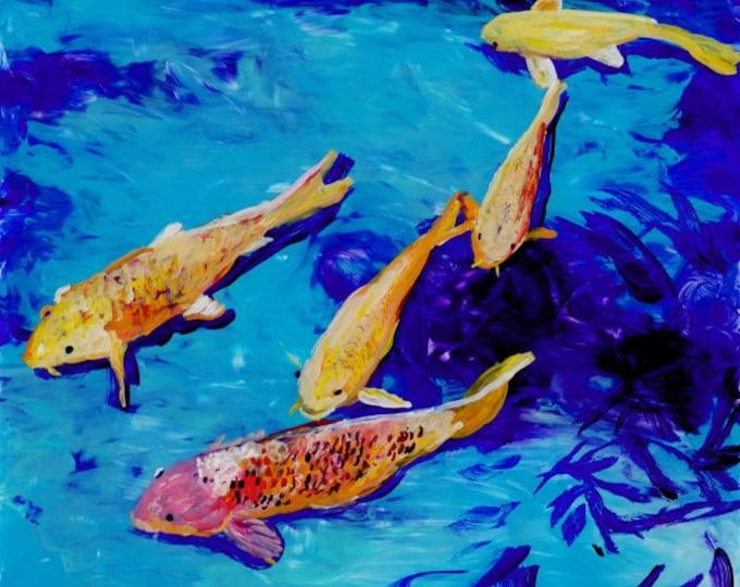 Original Koi Painting - Reverse Acrylic Art -  Swimming Koi Fish - Koi Pond - Kauai Art - Asian Oriental Japanese - nishikigoi carp