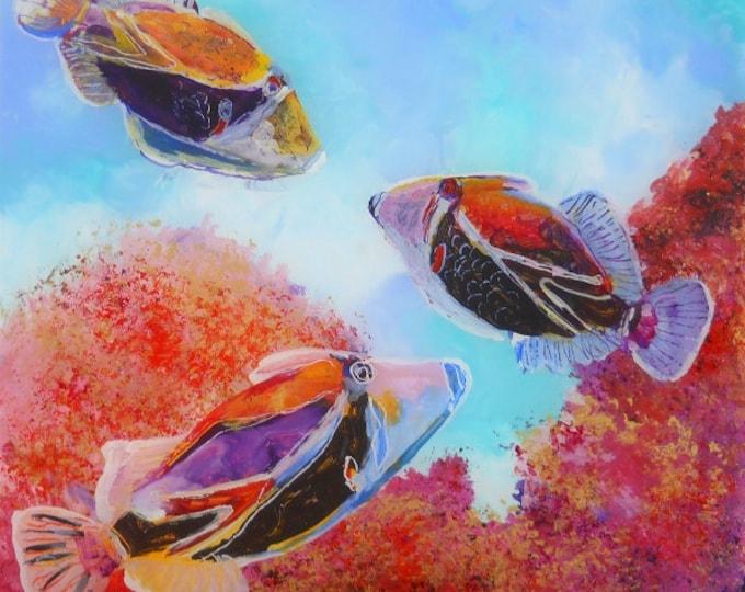 Humuhumu Tropical Fish - fish art print - Hawaiian sea life - Ocean decor interior design - Hawaiian reef fish - Kids Art - hawaiian art
