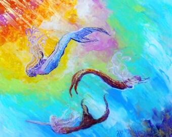 mermaid art, mermaid prints, swimming mermaids, mermaid fantasy art, mermaid art prints, mermaid ocean art, whimsica mermaids