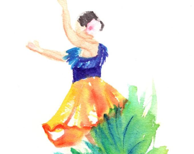 Hula Girl Painting Hula Dancer Watercolor Original Hula Art Hawaiian Decor Hawaii Art Hawaii Watercolor Paintings Hawaiian Hula Dance Aloha