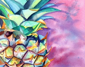 Pineapple art print, Pineapples, Hawaiian Pineapple Art, Pineapple artwork, Pineapple decor, Pineapple design, Hawaii art, oahu, maui