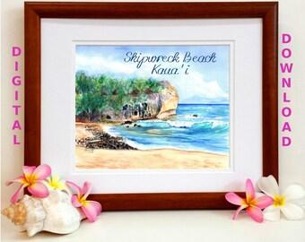 Instant Download, 8x10 5x7 print, Shipwreck Beach, Printable wall art, Digital Download, Downloadable Prints, Shipwreck's Beach Kauai