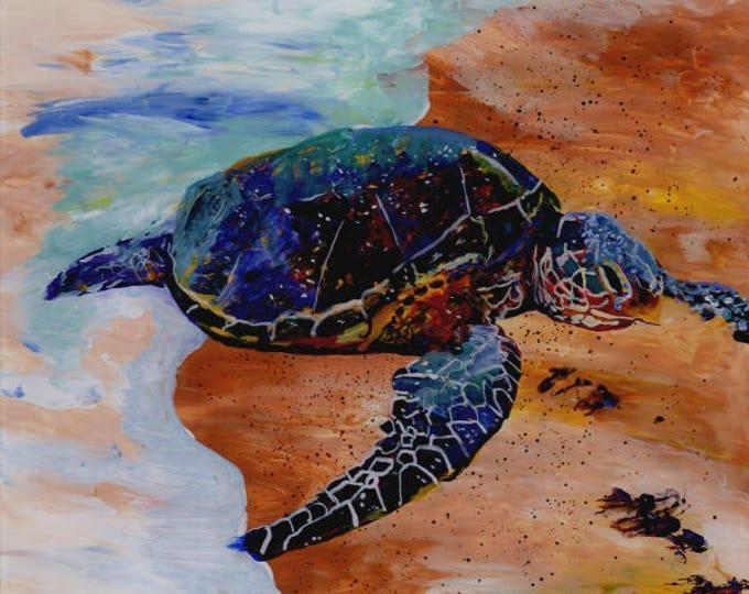 Kauai Sea Turtle Painting, Hawaiian Honu, Original Reverse Acrylic Art, Hawaii Paintings, Green Sea Turtles, Beach Ocean, Whimsical  Animals