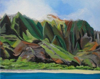 Na Pali art, Kauai mountains, Kauai cliffs, Kauai seascape, Kauai art, Kauai boat tour, Kauai painting, Hawaii art, Hawaii painting, cliffs