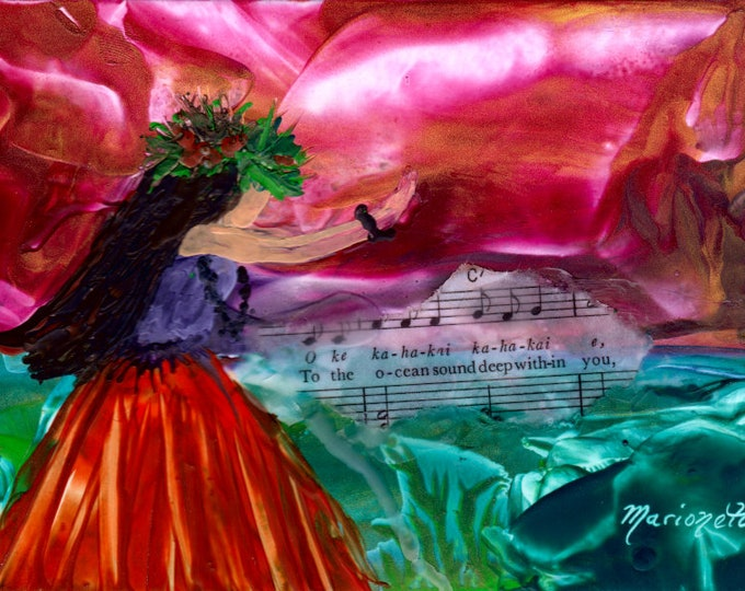 Encaustic Painting, Hula Girl Decor, Hawaiian Hula Art, Hula Paintings, Hawaiian Language, Music Lyrics, Encaustic Art, Hawaii Art