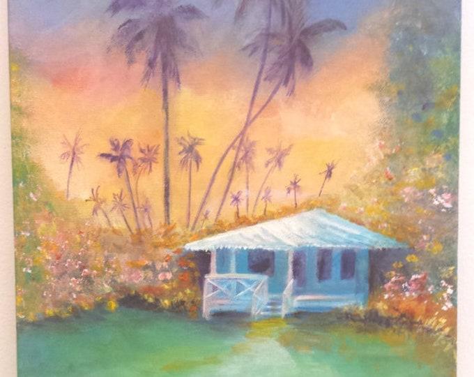 Kauai Cottage Original Acrylic Painting, Kauai Art, Hawaii Art, Hawaiian Plantation Cottage, Waimea Plantation Cottage, Tropical House Art