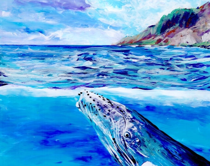 Whale art prints, Humpback Whale print, Hawaiian art, Kauai art prints, Hawaii painting, Hawaiian whales, whale ocean art, under sea