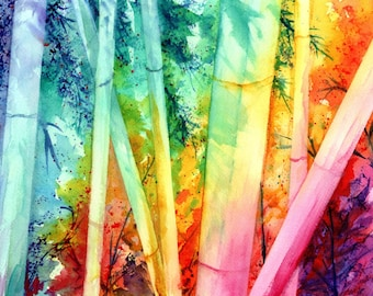Bamboo Fun Original Watercolor Painting from Kauai, Hawaii by Marionette Taboniar