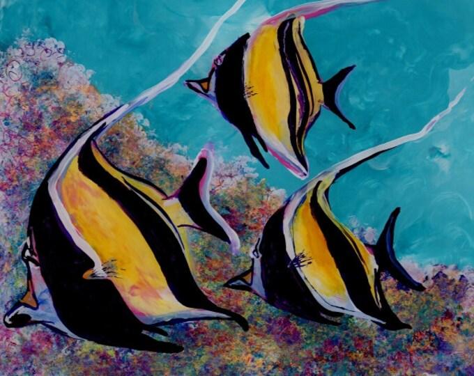 moorish idol art, angel fish art, tropical fish art, ocean art, hawaiian fish, hawaii art,  kids room decor fish painting tropical reef fish