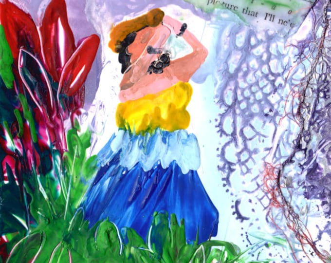 Hula Girl Original Painting, Hawaiian Painting, Hula Encaustics Painting, Hawaiian Music Art, Hula Art, Hula Dancer, Hawaiian Song Lyrics