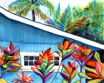 Hanalei Cottage, Kauai art, kauai art print, blue cottage, Hawaiian art, tropical house, Hawaiian decor, plantation house, Hanalei town