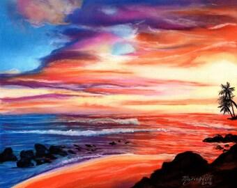 sunset art prints, kauai art,  salt pond beach, hawaiian sunrise, hawaii paintings, kauai art galleries, maui, oahu, Hawaii artwork, sunsets