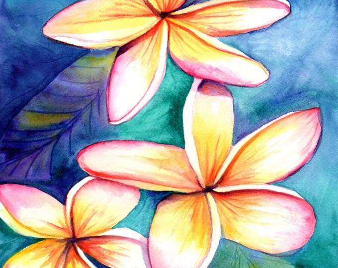 Plumeria print from Kauai Hawaii frangipani hawaii art kauaiartist Hawaiian art Kauai art tropical flowers