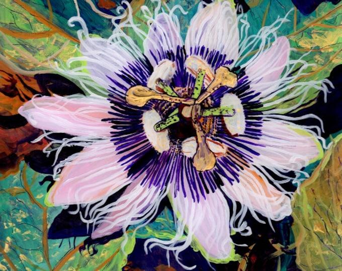 Lilikoi Passion Flower,  Passion Fruit Art, Passion fruit print, passiflora painting, lilikoi flower art, Kauai art, Aunty Lilikoi
