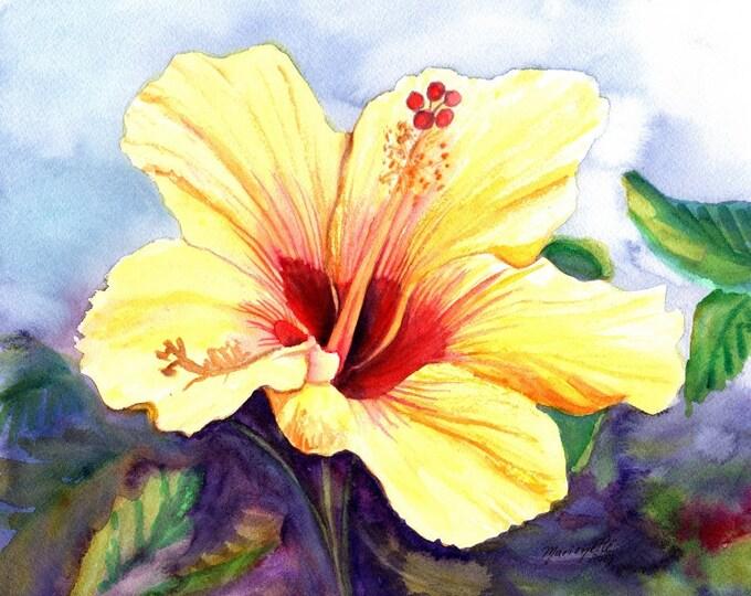 yellow hibiscus art print, hawaii prints, hawaiian art, hibiscus paintings, kauai maui oahu,  hawaiiana, tropical flowers, aloha