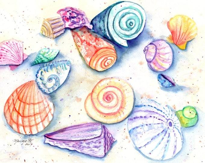 Seashell Art, Seashell Print, Seashells watercolor, Hawaii art, sea shell painting, ocean art, Hawaii painting, nursery art, Hawaii decor