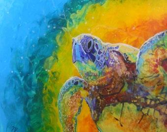 Sea Turtle Prints, Hawaiian Honu, Ocean Art, Sea Turtle, Rainbow Turtles, Kids Room Art, Turtle Painting, Hawaii art