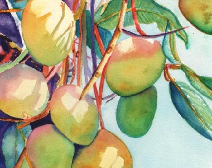 Mango art, mango print, mango painting, Kauai art, Hawaii art, tropical fruit, Hawaiian painting, pink green sky blue orange mangoes