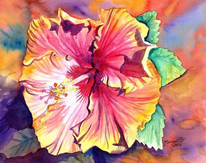Tropical Hibiscus print, Hawaiian art,  orange hibiscus, hibiscus art, kauai art print,  kauai paintings, hawaiiana, kauaiartist