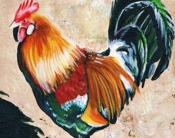 Kauai Rooster art print 5x7 from Hawaii Giclee Chicken Fowl Bird Kitchen Decor Hen Folk