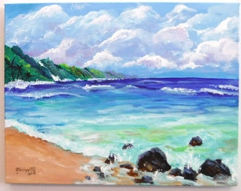 Kauai Art, Kauai Painting, Kauai Beach Art, Hawaii Art, Beach Painting, Na Pali Coast Kauai, Seascape Painting, Original Kauai Art