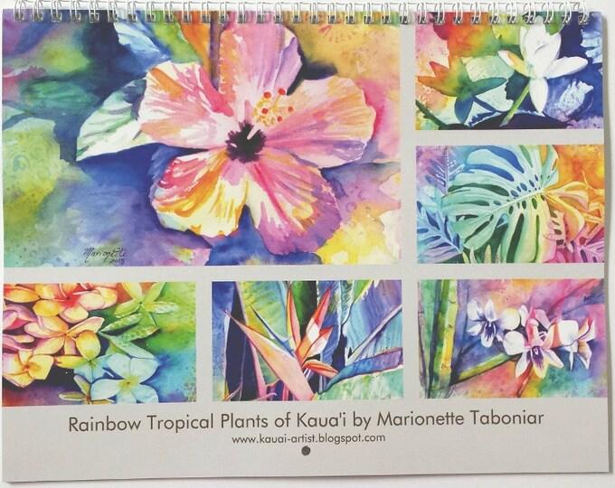 2019 Wall Calendar Rainbow Tropical Plants of Kauai Hawaii by Marionette Taboniar