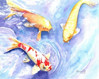 Koi art print, koi fish art, asian koi paintings, koi pond, orange koi, yellow koi, gifts for him, Japanese koi, feng shui art