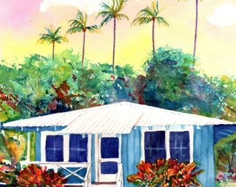 Hawaii Decor, Hawaii Watercolor Art, Old Plantation Cottage, Hawaiian Painting, Kauai Art, Kauai Watercolor Paintings, Tropical Decor, house