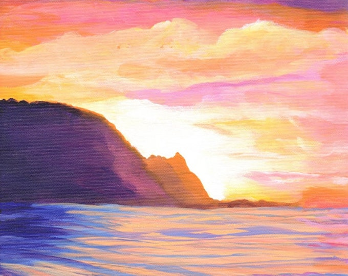 Kauai Makana Mountain art print Bali Hai  Painting from Kauai Hawaii Hawaiian Art Na Pali Coast Kauai Interior Design Decor