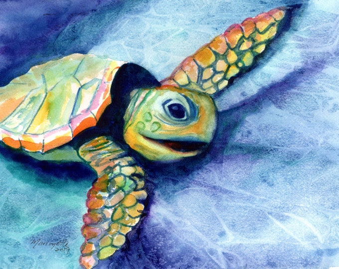 swimming turtle, original watercolor, hawaii painting, ocean art, kauai tropical art, turtle painting, honu, sea turtles, hawaii art