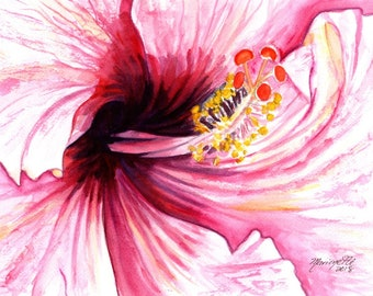 hibiscus painting pink hibiscus art hibiscus decor hawaii art hawaiiana hawaii painting hawaii wall art kauai watercolor painting flower art