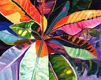 Tropical Leaves, Croton, Kauai Croton Leaves, Hawaiian print, Kauai Hawaii tropical purple orange blue pink oahu maui