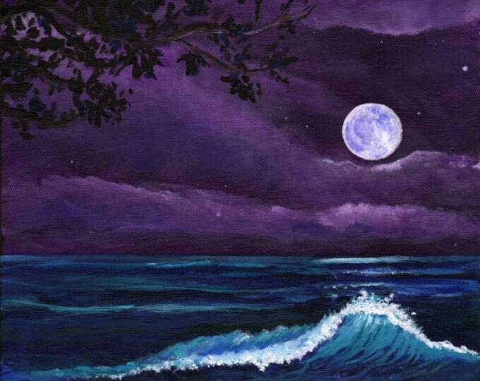 Kauai moon art, Romantic Kauai Moonlight, Kauai Giclee Art Print, Hawaii art,  Marionette Taboniar, Kauai Artist, moon art, beach at night