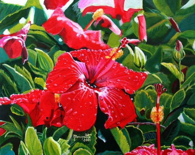 red hibiscus print, Mele Kalikimaka, Hawaiian Christmas,  Kauai art, Hawaii print,  hibiscus art, hibiscus painting, red hibiscus decor