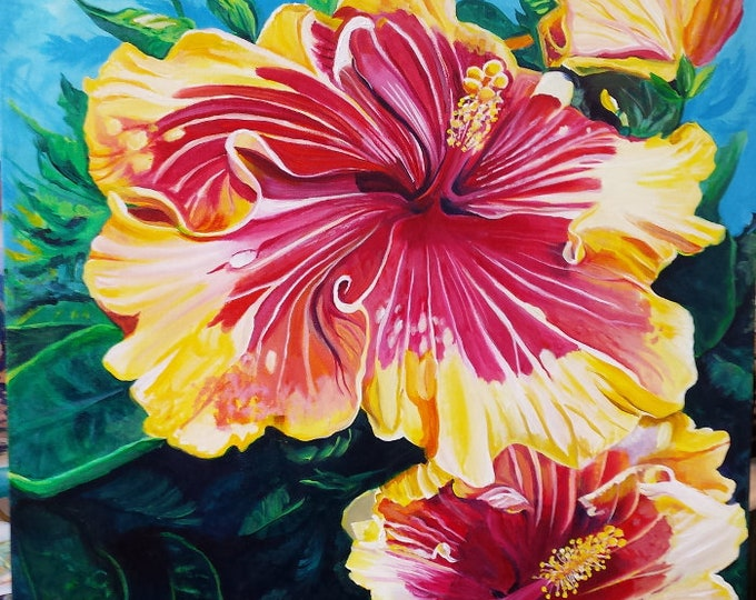 Tropical Hibiscus Original Acrylic Painting from Kauai Hawaii by Marionette Taboniar