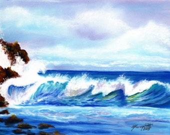 Kauai Seascape Art, Kauai Beach Print, Kauai Big Surf, Pacific Ocean Art Prints, Hawaiian Seascapes,  Hawaiian decor, ocean wave art print