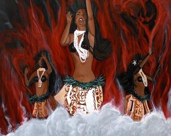 Pele, Madame Pele, Lava, Volcano, Hawaii Volcano, Pele art, Pele Painting, Pele prints, Pele hula, Goddess Pele, Goddess of fire