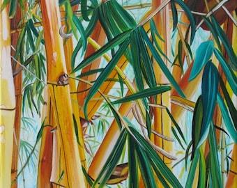 Bamboo print, Yellow Bamboo art, Oriental Bamboo, Japanese Bamboo, Bamboo painting, Bamboo Garden,