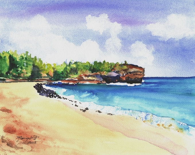 Shipwreck's Beach Art Print - Kauai Hawaii - Beach Wave Art - Grand Hyatt Kauai - Beach Sand Ocean Print - Hawaiian Landscape Decor
