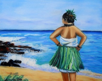 Hula Girl, hula dancer, Hawaiian hula, hula dancing, beach, Kauai beach, Kauai ocen art, Kauai hula painting, grass skirt, Hawaii art