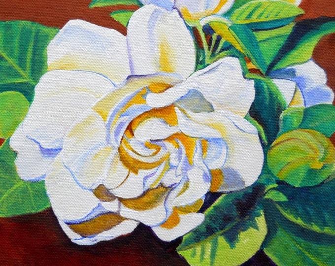 Gardenia Art Print, white flower paintings, gardenia artwork, tropical flowers, Kauai art, Hawaii art, exotic flowers